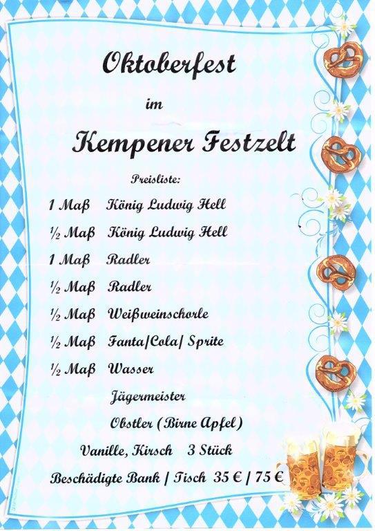 Getränke | Oktoberfest Kempen